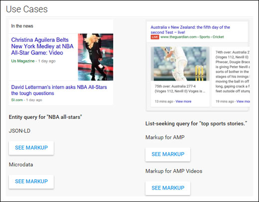 The data type page for articles on Google Search