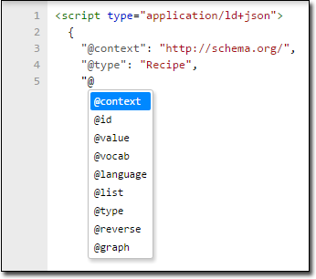 Google Structured Data Testing Tool automatic completion for JSON-LD reserved keywords