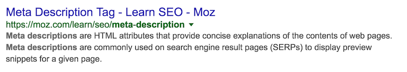meta description Google Search moz