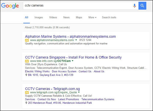 Screenshot of mobile style Google search results on desktop from the SEM Post