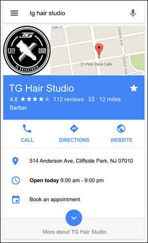Example of a Place Action-generated link and other information on on a Google local business Knowledge Panel
