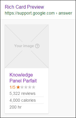 A recipe rich card preview with placeholder image in the Google Structured Data Testing Tool