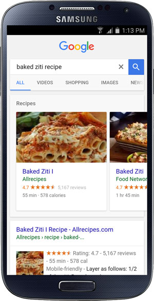 A recipe rich card in Google search results