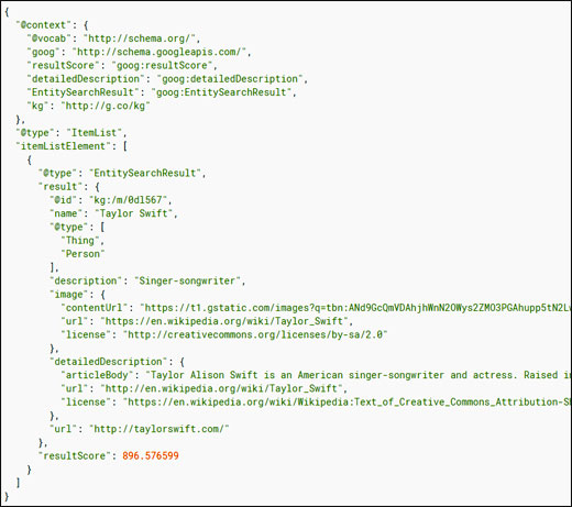 Google Knowledge Graph API result for the query
