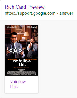 A movie rich card preview in the Google Structured Data Testing Tool