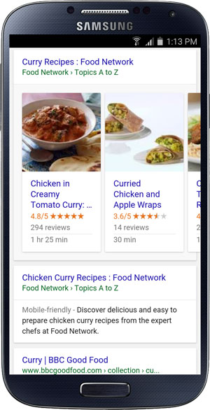 A Google host-specific list of recipes displayed in a carousel