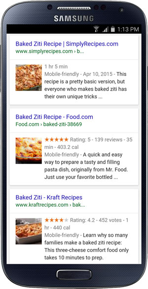 Individual recipe rich cards in Google search results